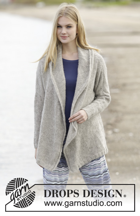 "Morning Hug / DROPS 164-24 - Knitted DROPS jacket with shawl collar in 2 strands ""Brushed Alpaca Silk"" or 1 strand Melody. Size: S - XXXL."
