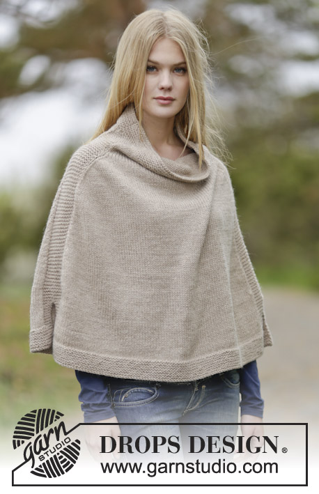 "Bonfire Snuggle / DROPS 164-25 - Knitted DROPS poncho in ""Nepal"". Size: S - XXXL."