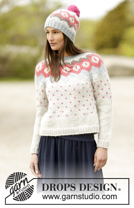 Winter Poppies / DROPS 164-28 - Set consists of: Knitted DROPS jumper with round yoke and Nordic pattern and hat with Nordic pattern and pompom in Andes. Size: S - XXXL.