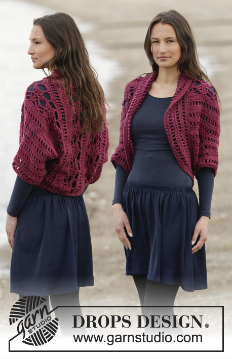 "Holly Berry / DROPS 164-30 - Crochet DROPS shoulder piece with fans and lace pattern in ""Big Merino"". Size S-XXXL."
