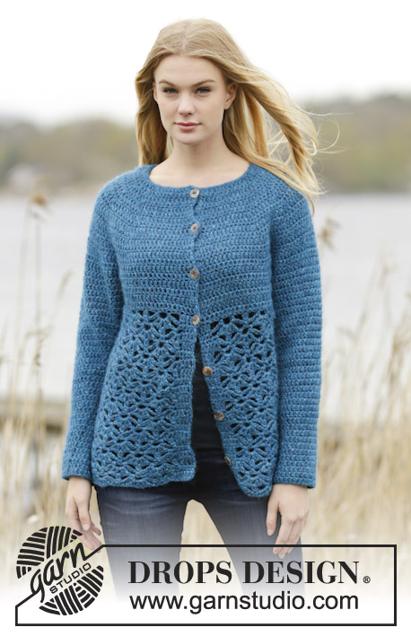 "Lakeside Cardigan / DROPS 164-33 - Crochet DROPS jacket round yoke, double crochet and lace pattern, worked top down in ""Air"". Size: S - XXXL."