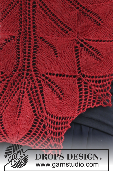 Autumn Leaf / DROPS 164-41 - Knitted DROPS shawl with lace pattern and leaves in Lace or BabyAlpaca Silk.