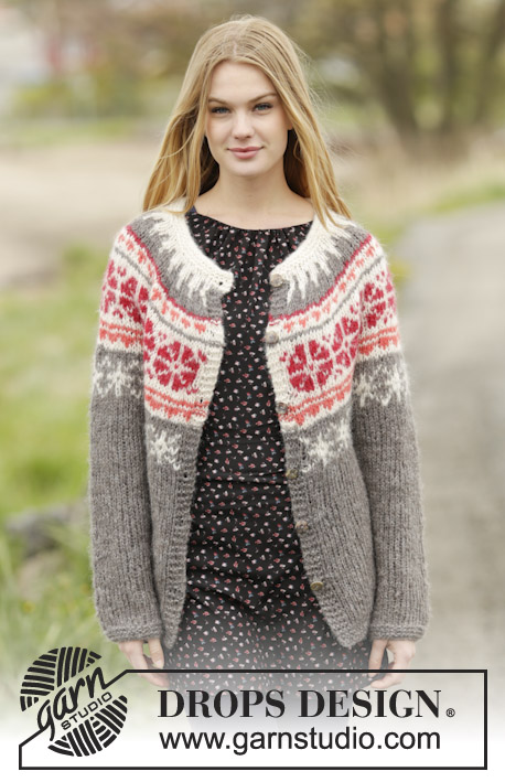 "Petunia Cardigan / DROPS 164-44 - Knitted DROPS jacket with round yoke and Nordic pattern, worked top down in 2 strands ""Brushed Alpaca Silk"" or 1 strand ""Melody"". Size: S - XXXL."