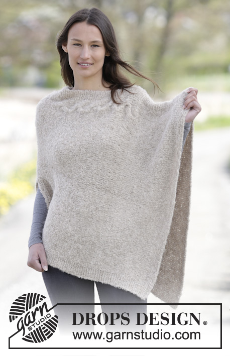 "Weekend Wrap / DROPS 164-47 - Knitted DROPS poncho in garter st and stockinette st with cable in ""Alpaca Bouclé"". Size S-XXXL."
