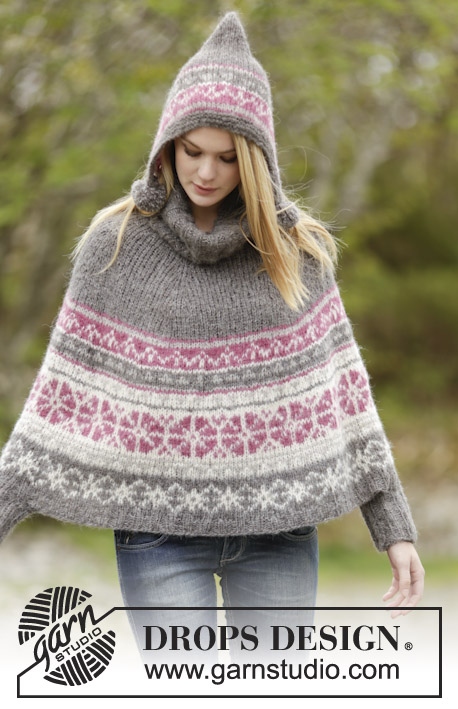 Sweet Winter Poncho Drops 164 6 Free Knitting Patterns By Drops