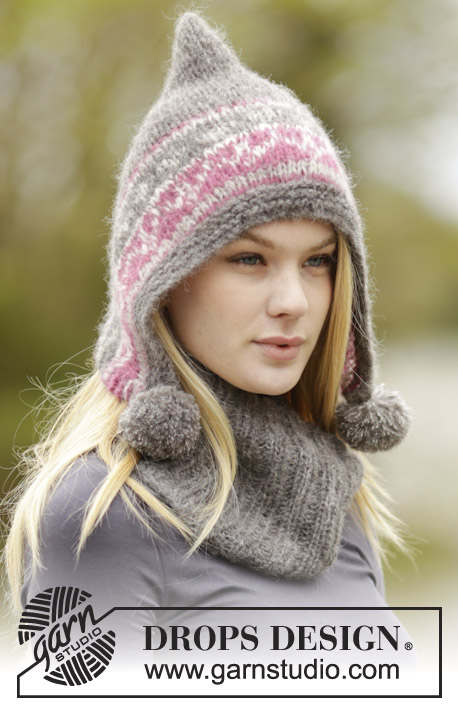 Sweet Winter Hat / DROPS 164-7 - Set consists of: Knitted DROPS hat in 2 strands Brushed Alpaca Silk or 1 strand Melody with Nordic pattern, pompoms and garter band and neckwarmer with rib.