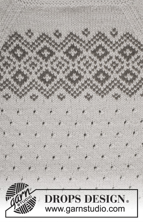 "Winter Melody / DROPS 165-17 - Knitted DROPS jumper with lace pattern, Nordic pattern and raglan in ""Lima"". Size: S - XXXL."