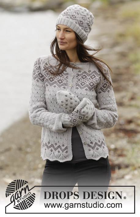 "Winter Melody Cardigan / DROPS 165-18 - Knitted DROPS jacket with lace pattern, Nordic pattern and raglan in ""Lima"". Size: S - XXXL."