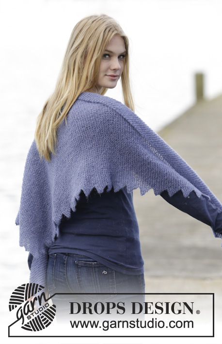 Purple Dragon Shawl / DROPS 165-37 - Chal de punto DROPS con puntas, en Brushed Alpaca Silk.