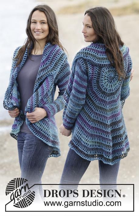 Garnstudio Free Crochet Patterns : Gypsy Blue / DROPS 165-40 - Geh?kelte DROPS Kreisjacke in ...