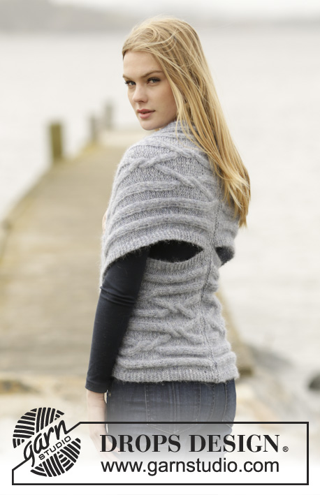 "Infinity / DROPS 165-47 - Knitted DROPS shoulder piece with cables and short rows in ""Air"". Size: XS - XXXL."