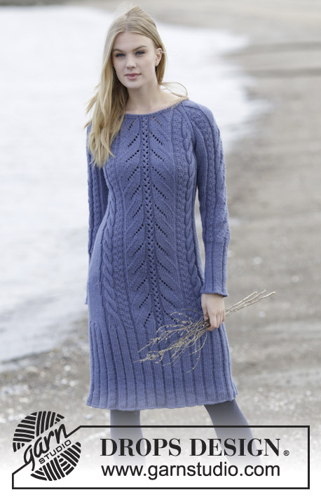 Regal Splendour / DROPS 165-8 - Knitted DROPS dress with raglan, cables and textured pattern, worked top down in Nepal. Size: S - XXXL.