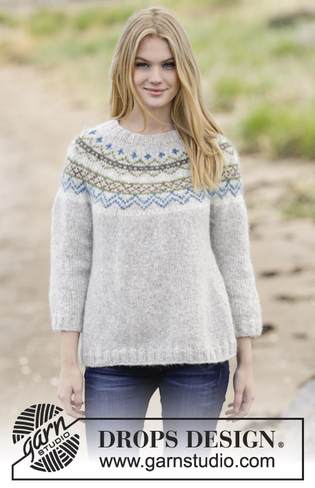 "Sjona / DROPS 166-1 - Knitted DROPS jumper with round yoke and Nordic pattern in ""Air"". Size: S - XXXL."