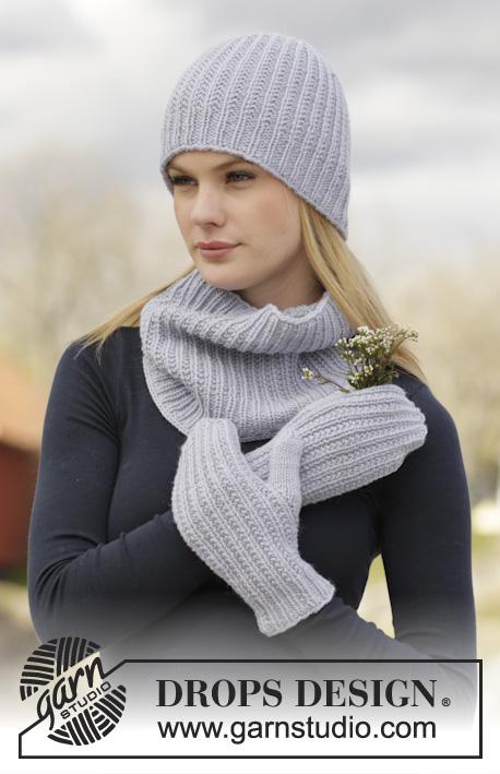 Ruth / DROPS 166-13 - DROPS souprava: čepice, nákrčník a rukavice – palčáky, s plastickým vzorem pletené z příze Lima.