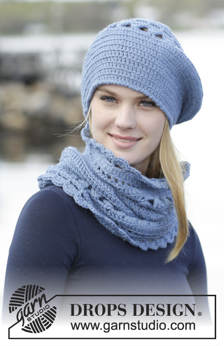 "Winter Flower / DROPS 166-21 - Set consists of: Crochet DROPS beret and neck warmer with lace pattern in ""Lima""."