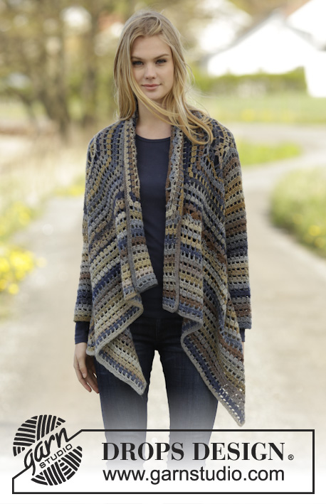 Autumn Delight / DROPS 166-22 - Crochet DROPS jacket worked in a square in Delight. Size: S - XXXL.