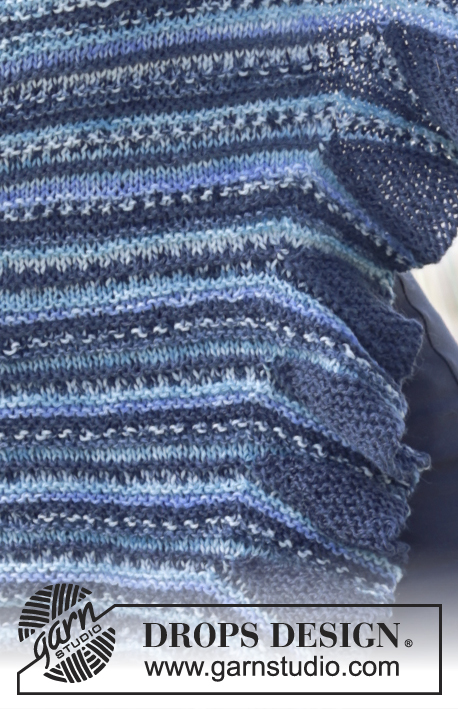 "Eurydice / DROPS 166-26 - Knitted DROPS shawl in garter st, worked diagonally with flounce in one side in ""Fabel""."