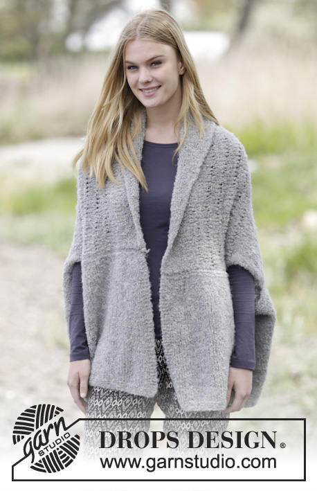 "Afternoon Hug / DROPS 166-40 - Knitted DROPS jacket in garter st with dropped sts and shawl collar in ""Alpaca Bouclé"". Size: S-XXXL"