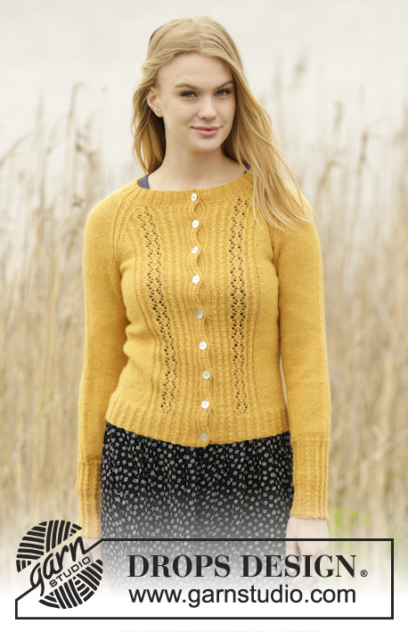 "Sweet As Honey / DROPS 166-42 - Knitted DROPS jacket with lace pattern, small cables and raglan in ""Alpaca"". Size: S - XXXL."