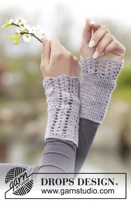 "Viola / DROPS 166-44 - Set consists of: Crochet DROPS shawl, hat and wrist warmers with fan pattern in ""BabyAlpaca Silk""."