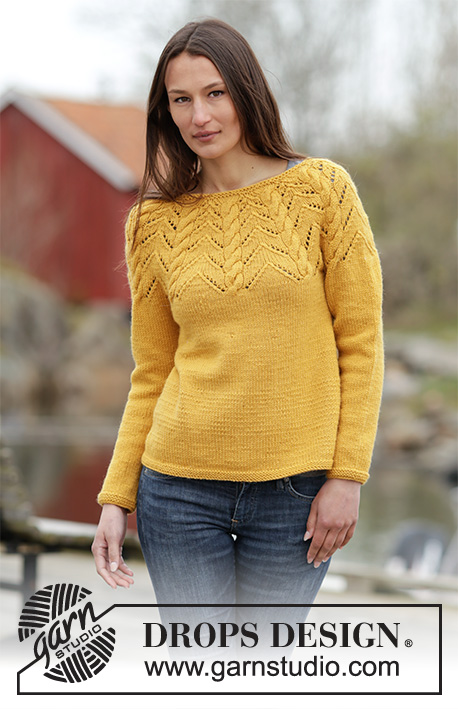 "Early Autumn / DROPS 166-9 - Knitted DROPS jumper with A-shape, round yoke, cables and lace pattern in ""Nepal"". Size: S - XXXL."
