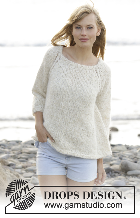 "Stay Longer / DROPS 167-23 - Knitted DROPS jumper with raglan, worked top down in ""Melody"" and ""Glitter"". Size: S - XXXL."