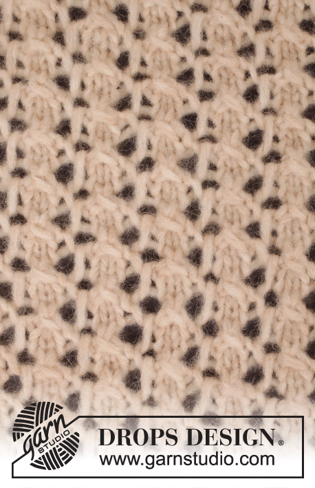 Creme Caramel / DROPS 167-26 - Knitted DROPS poncho with lace pattern in 1 thread Cloud or 2 threads Air