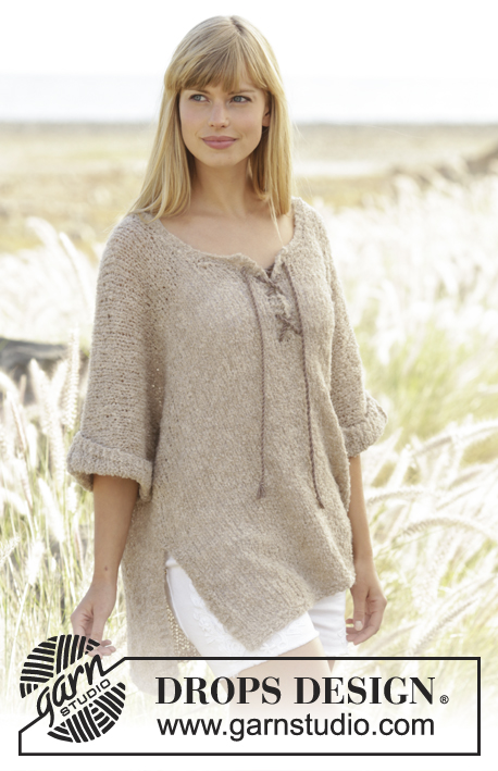 "Country Stroll / DROPS 167-38 - Knitted DROPS jumper in ""Alpaca Bouclé"" with lacing at the front. Size: S - XXXL."