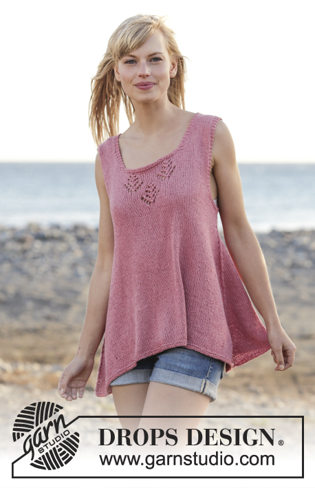"Woodstock / DROPS 167-6 - Knitted DROPS top with lace pattern and A-shape, worked top down in ""Belle"". Size: S - XXXL."