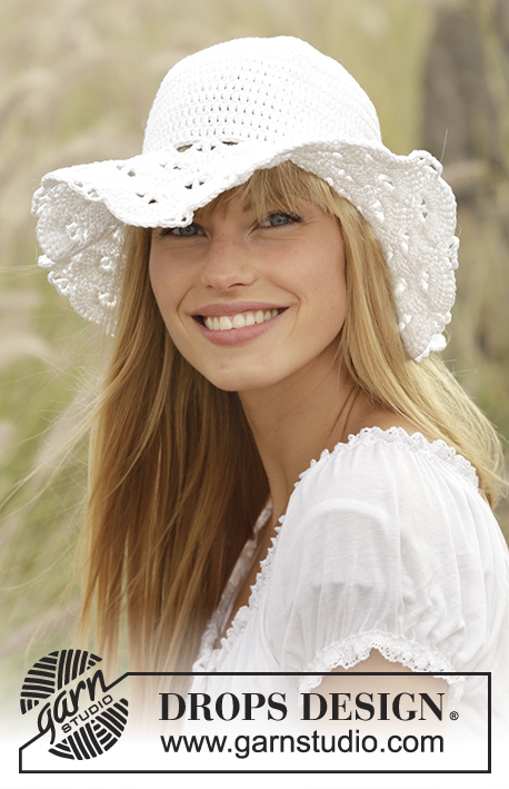 "Country Girl   DROPS 167-7 - Crochet DROPS hat with fan pattern in "" ... 453de4a1117"