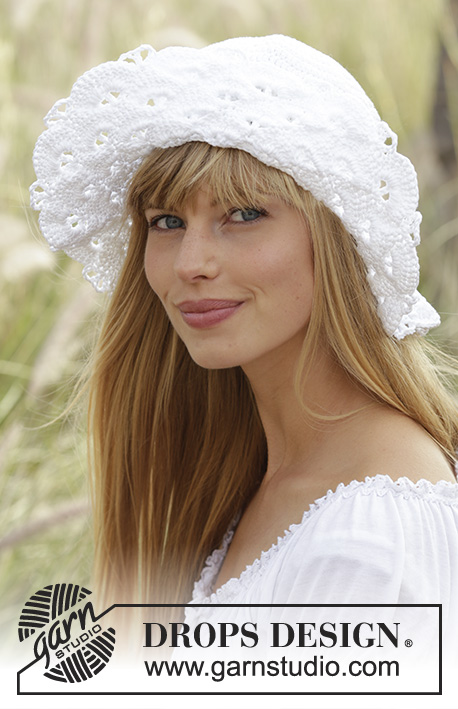 "Country Girl / DROPS 167-7 - Crochet DROPS hat with fan pattern in ""Muskat""."