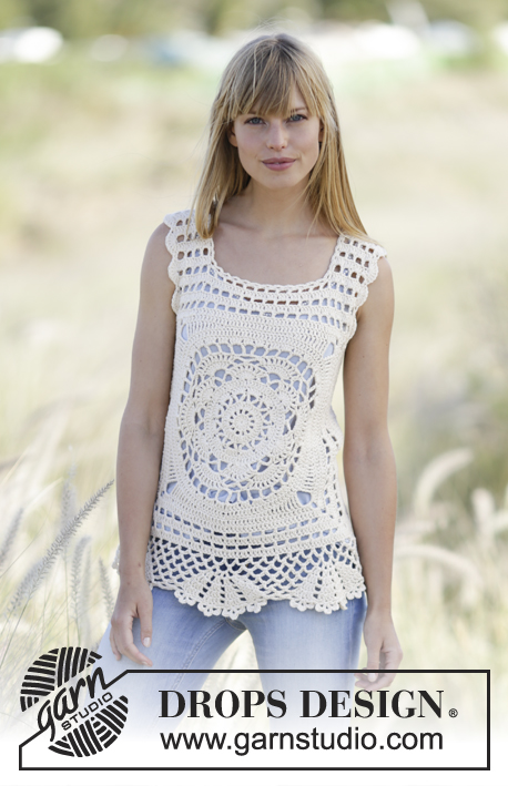 "Elvira / DROPS 168-11 - Crochet DROPS top with crochet squares in ""Belle"". Size: S - XXL."