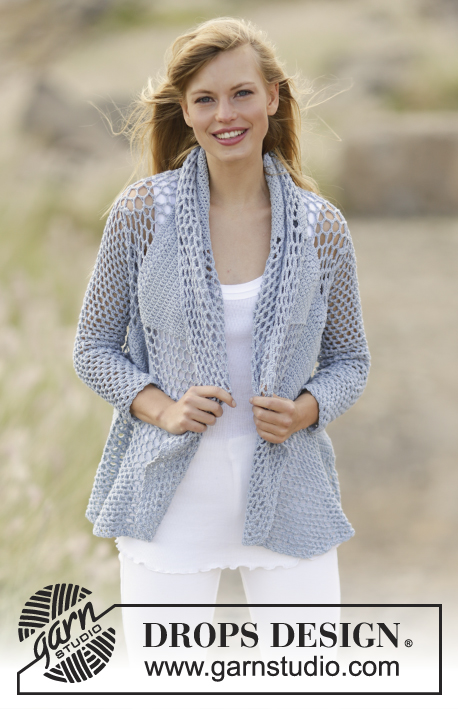 "Endless Love / DROPS 168-12 - Crochet DROPS jacket worked in a circle with double crochet and lace pattern in ""Cotton Merino"". Size S - XXXL."