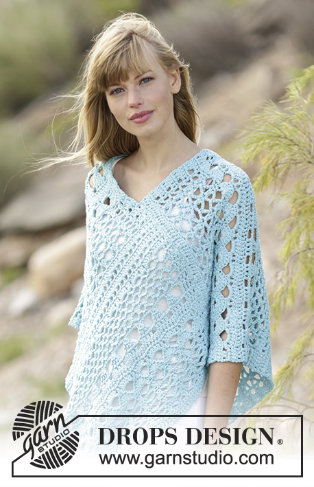 "Sky Love / DROPS 168-13 - Crochet DROPS poncho with lace pattern in ""Paris"". Size: S - XXXL."