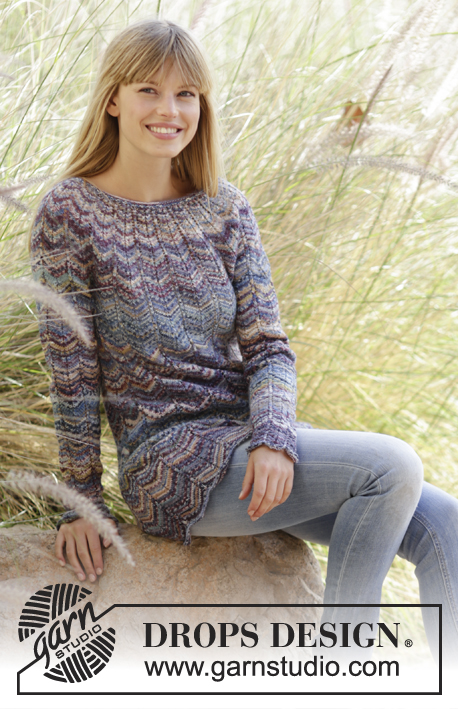 "At Sundown / DROPS 168-19 - Knitted DROPS jumper with zig-zag and round yoke in ""Fabel"". Size: S - XXXL."