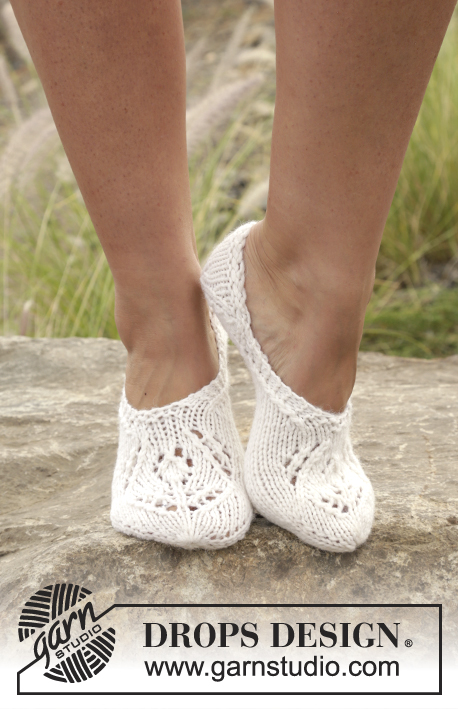 Snow Fairy / DROPS 168-25 - Knitted DROPS slippers with lace pattern in Nepal. Size 35-43