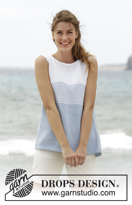 "Sea Line / DROPS 168-4 - Knitted DROPS top with stripes and button band at the back in ""Paris"". Size: S - XXXL."