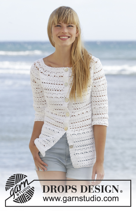 "Seashore Bliss Cardigan / DROPS 169-16 - Crochet DROPS jacket with lace pattern and round yoke in ""Cotton Light"". The piece is worked top down. Size: S - XXXL."