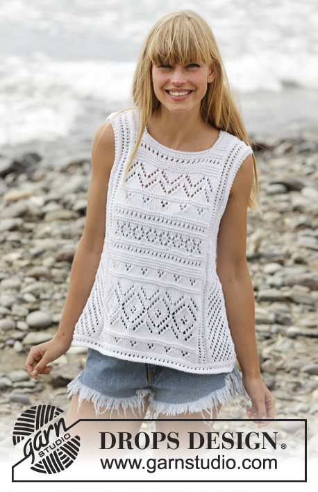 "Erica Singlet / DROPS 169-20 - Knitted DROPS top with lace pattern and A-shape in ""Cotton Light"". Size: S - XXXL."