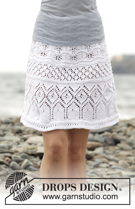 "Summer Elegance / DROPS 169-24 - Knitted DROPS skirt with lace pattern worked top down in ""Muskat"". Size: S - XXXL."