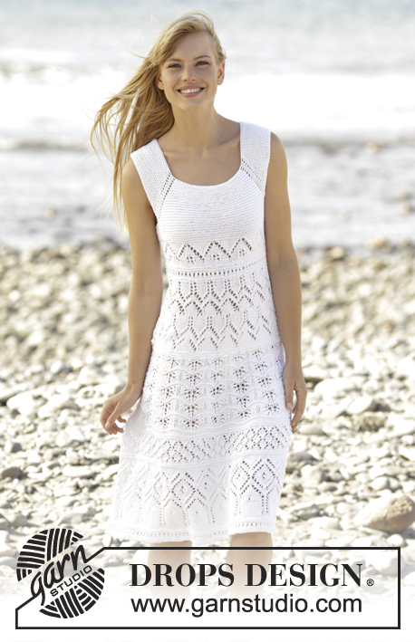 "Mallorca / DROPS 169-25 - Knitted DROPS dress with lace pattern worked top down in ""Muskat"". Size: S - XXXL."