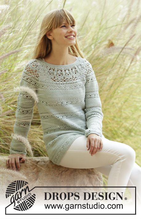 "Sweet Mint / DROPS 169-33 - Crochet DROPS jumper with lace pattern and round yoke in ""Safran"". The piece is worked top down. Size: S - XXXL."
