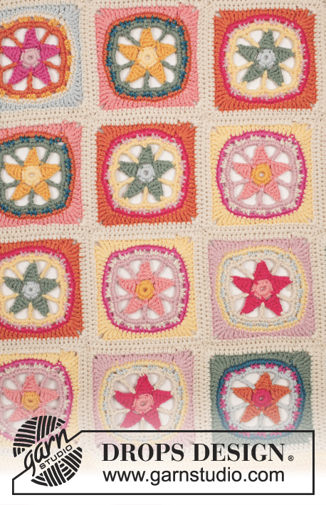 "Starstruck / DROPS 169-37 - Crochet DROPS blanket with colorful sea star squares ""Safran""."