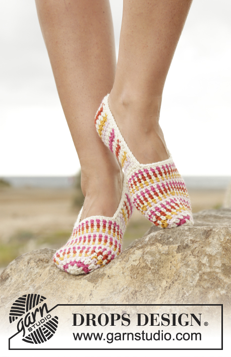 Tropical Steps / DROPS 170-10 - Crochet DROPS slippers with stripes in Lima.