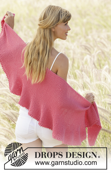 "Pink Sorbet / DROPS 170-13 - Knitted DROPS shawl in garter st with short rows and picot edge in ""Cotton Merino""."