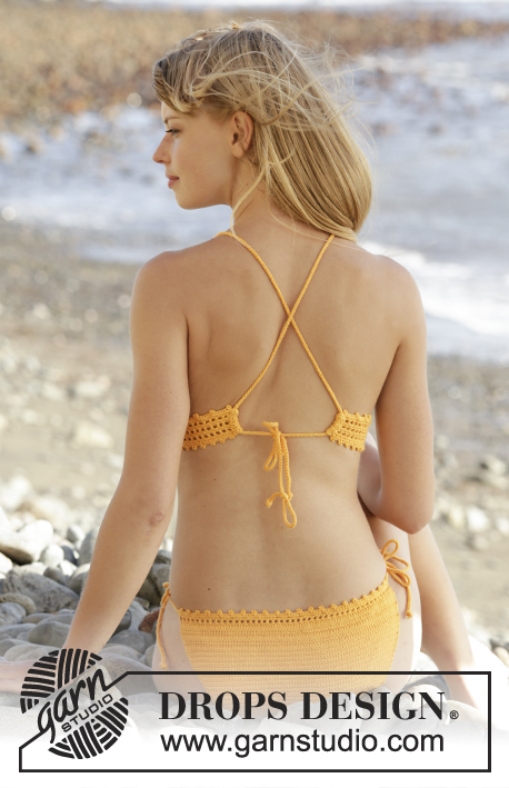 "Tahiti / DROPS 170-15 - Crochet DROPS bikini with lace pattern and ties in ""Safran"". Size S-XXXL."