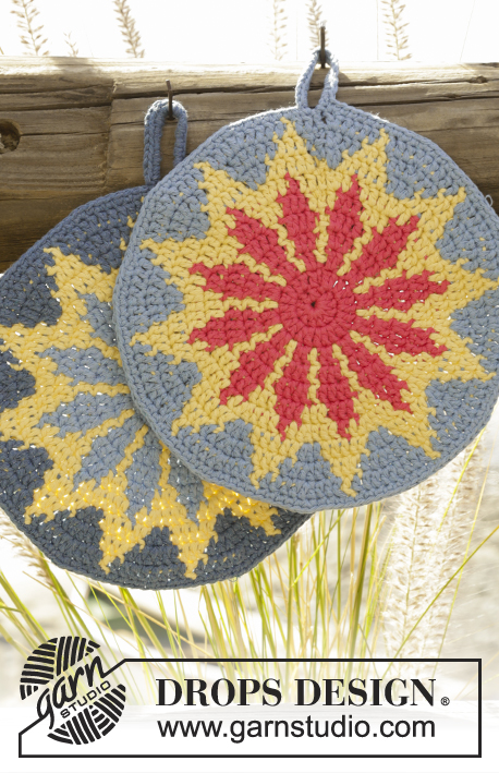 "Burning Sun / DROPS 170-22 - Crochet DROPS round pot holder with multi-colored pattern in ""Paris""."