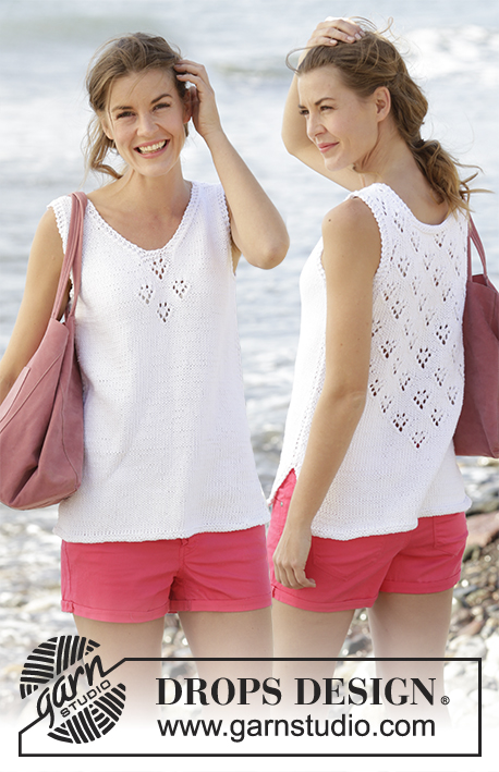 "Sunny Day Top / DROPS 170-32 - Knitted DROPS top with V-neck, lace pattern and vents in the sides in ""Paris"". Size: S - XXXL."