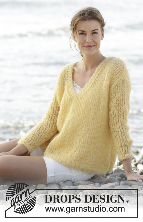 53fd440817ae Summer Melody   DROPS 170-33 - Knitted DROPS jumper in stockinette st with V