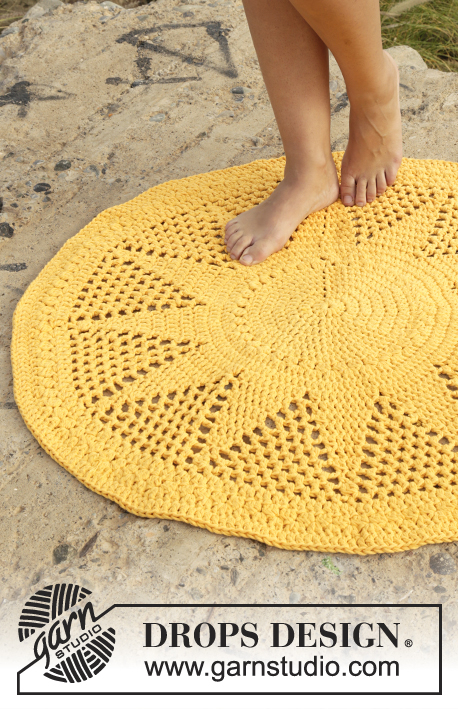 Sol / DROPS 170-39 - Crochet DROPS rug with double crochet and lace pattern in 2 strands Paris.